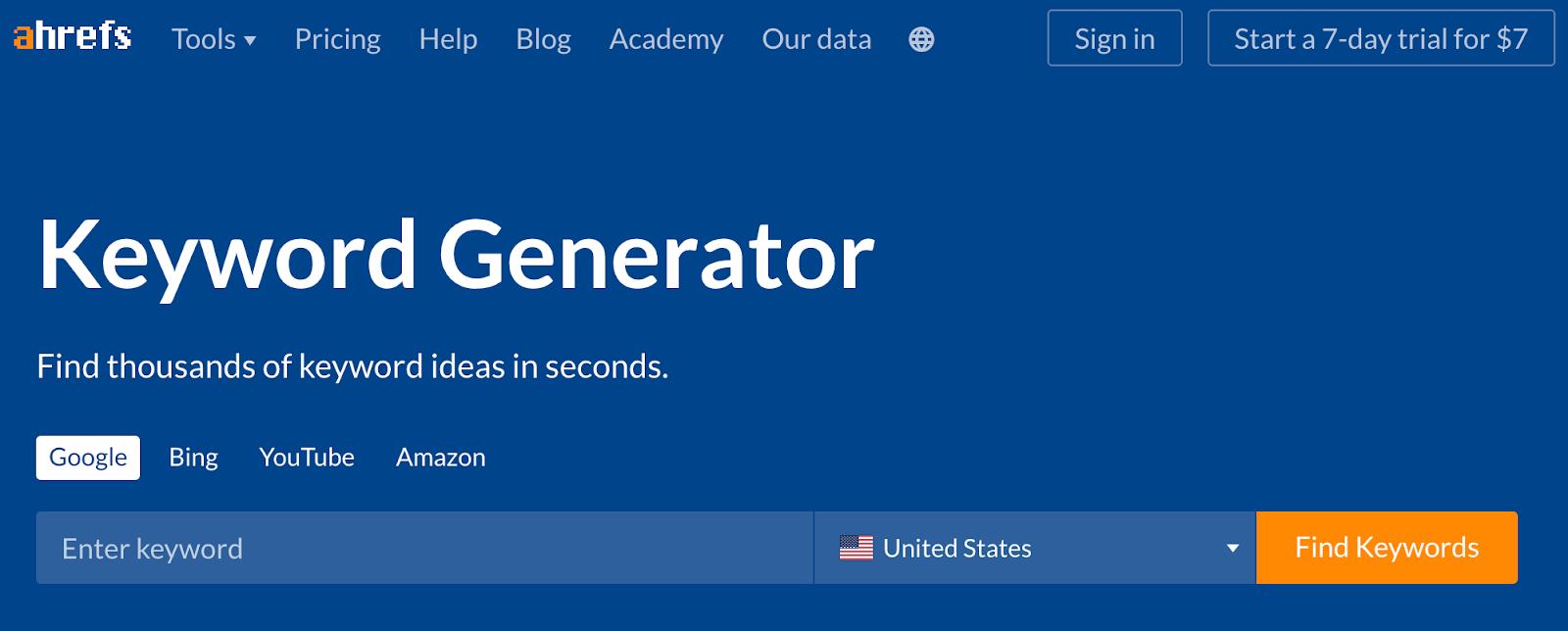 Ahrefs' Keyword Generator