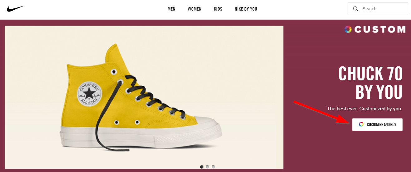 Screenshot of Converse offering customization on their website