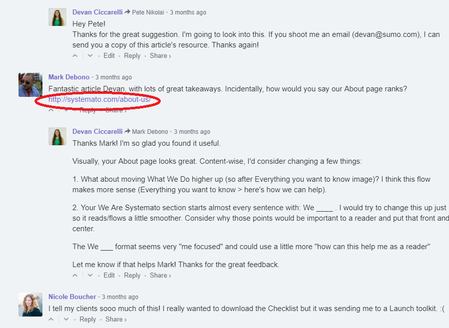 Screenshot showing the comment section of a content piece