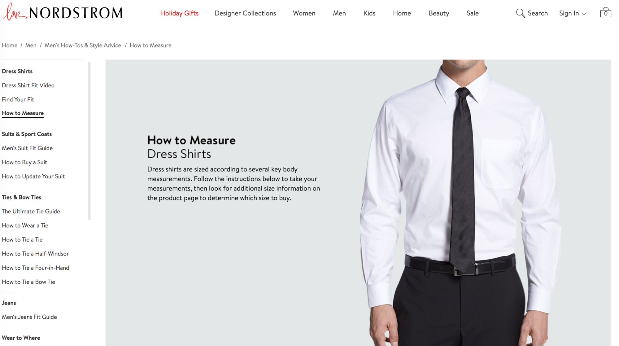 Screenshot showing a page on nordstrom.com