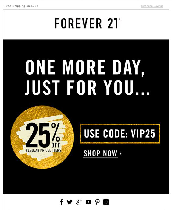 Screenshot showing a cyber monday promo banner in an email