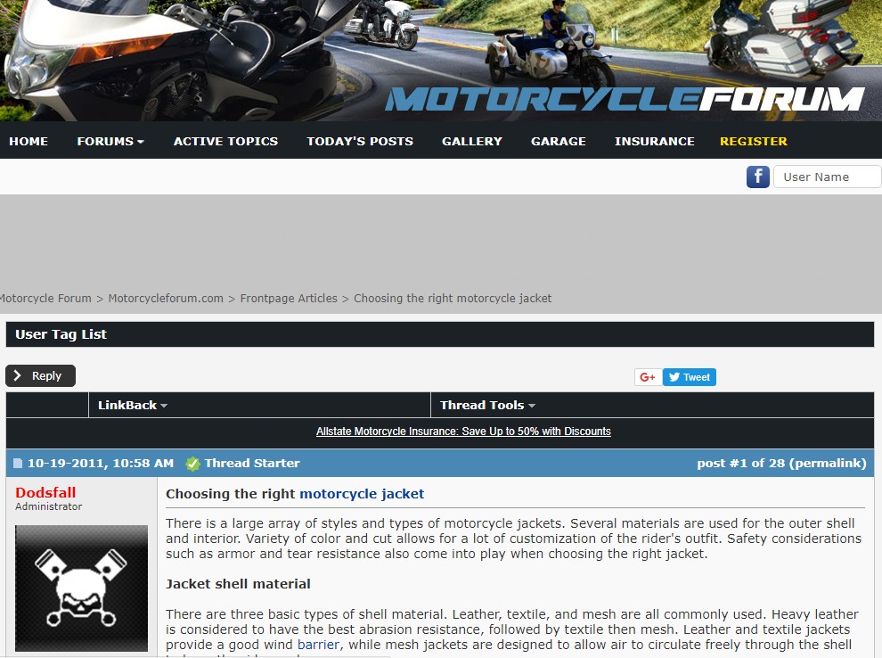 Screenshot showing a forum post