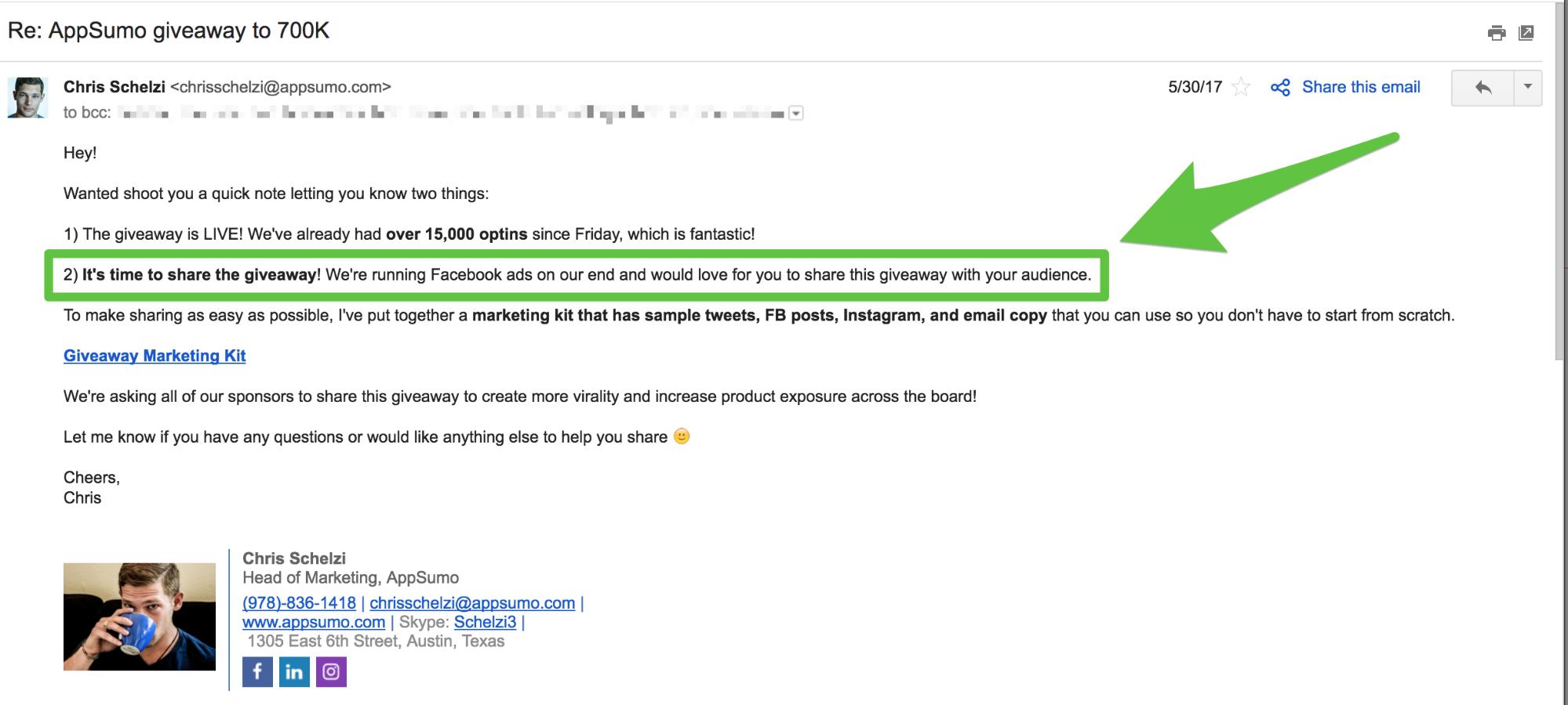 Ảnh chụp màn hình hiển thị một email