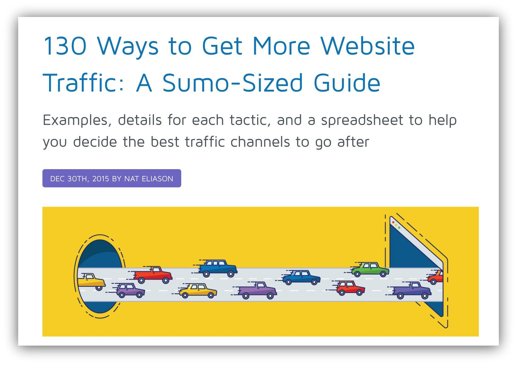 Screenshot of a Sumo article about getting more traffic