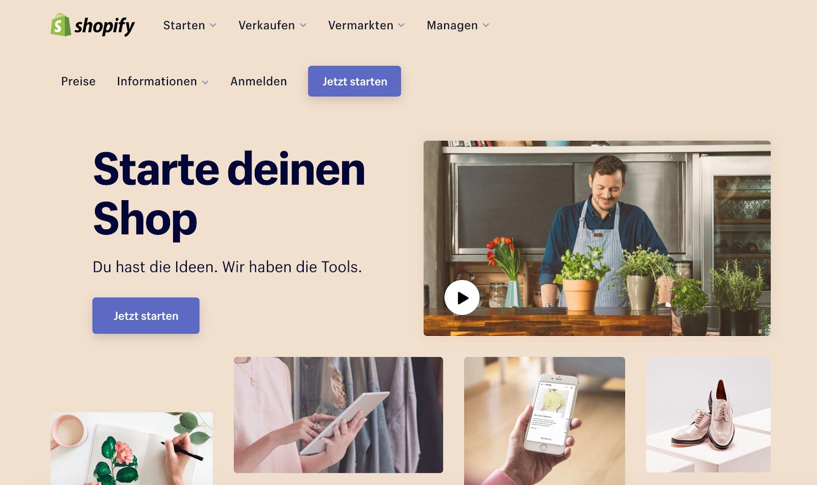 Global Marketing Strategy: Screenshot of Shopify