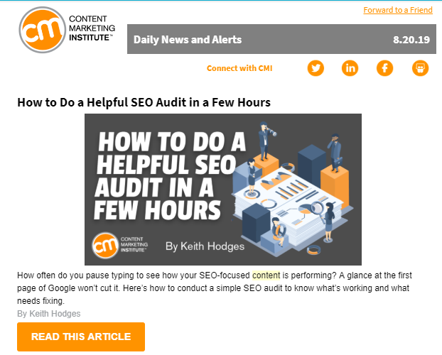 B2B Email Marketing: Screenshot of email by Content Marketing Institute sharing an article on how to do an SEO audit