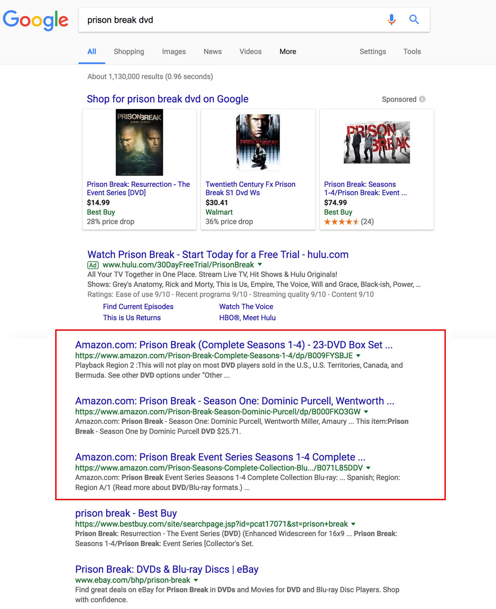 "Screenshot showing a google search for ""prison break dvd"", with amazon results highlighted"