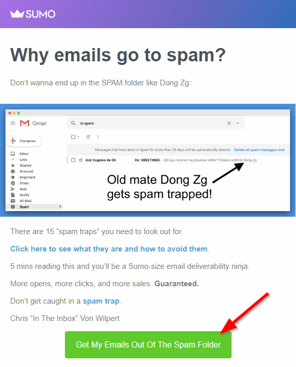 Screenshot of button in Sumo email