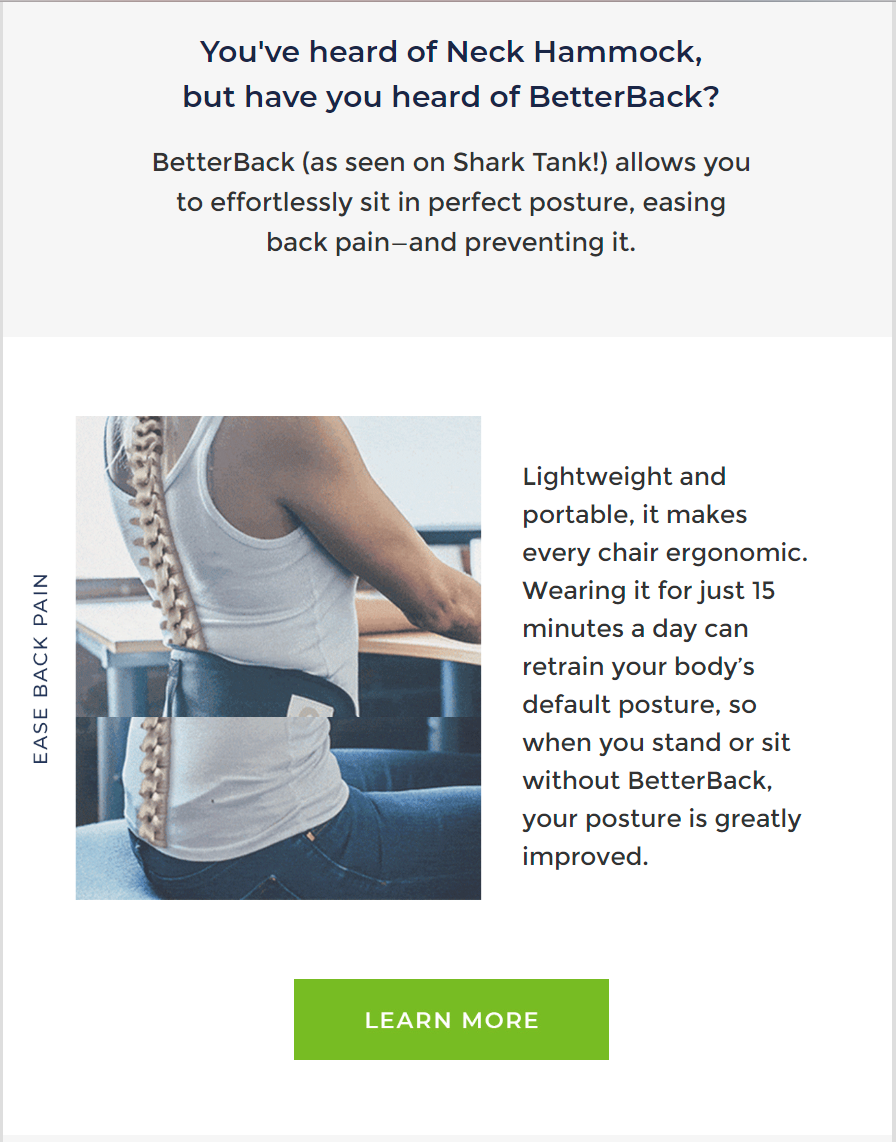 THE TESTIMONIALS & CROSS-SELL EMAIL BY NECK HAMMOCK