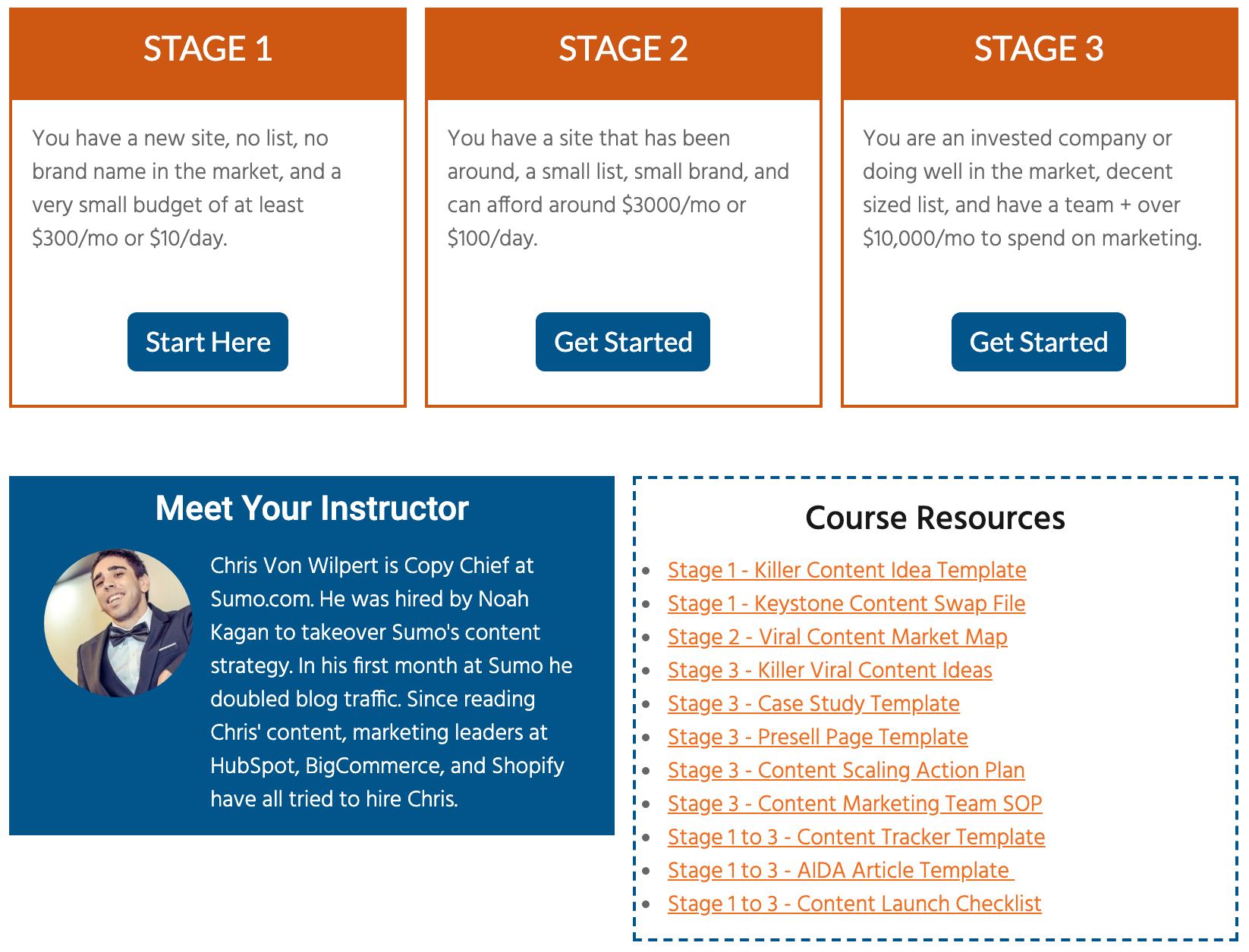 Content marketing course screenshot