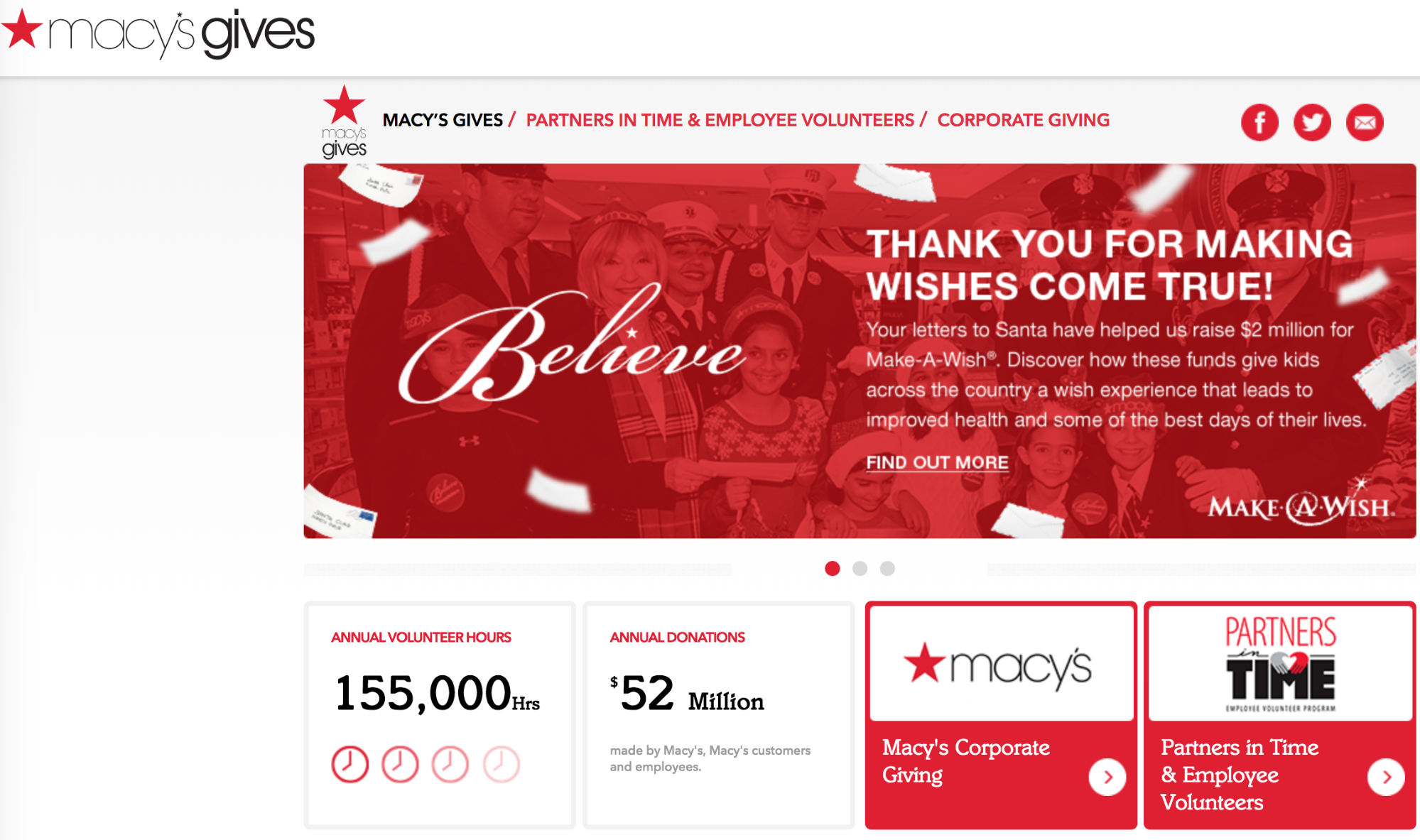 Screenshot showing a charity page on macy