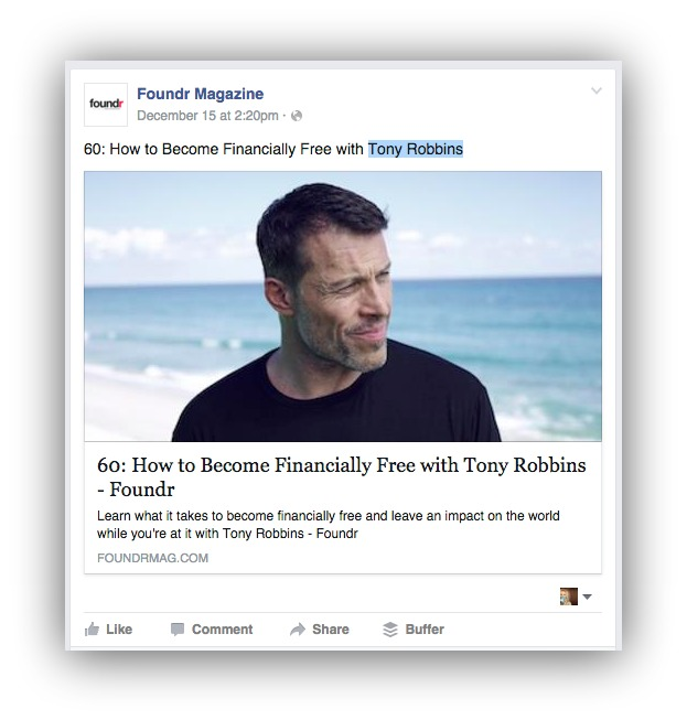 Screenshot showing an example of free facebook marketing