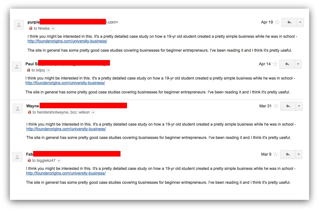 Screenshot of a bunch of emails with the same exact body
