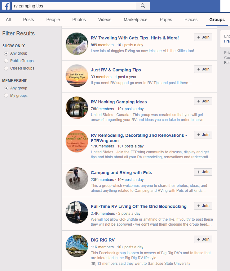 Screenshot showing Facebook search results