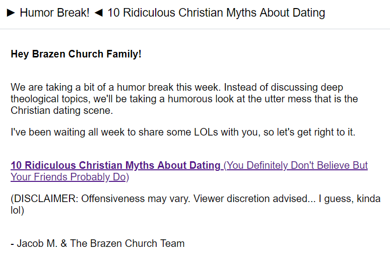 Screenshot of clickbait content email by Brazen Church