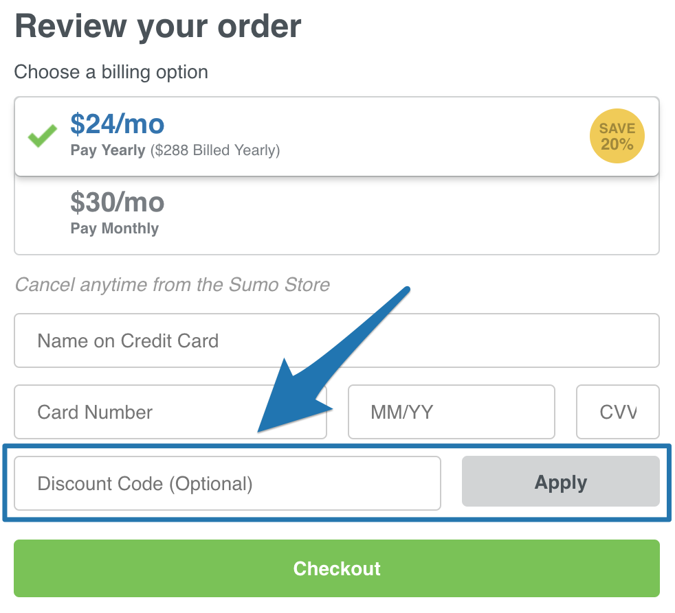 Screenshot of the sumo coupon entry section