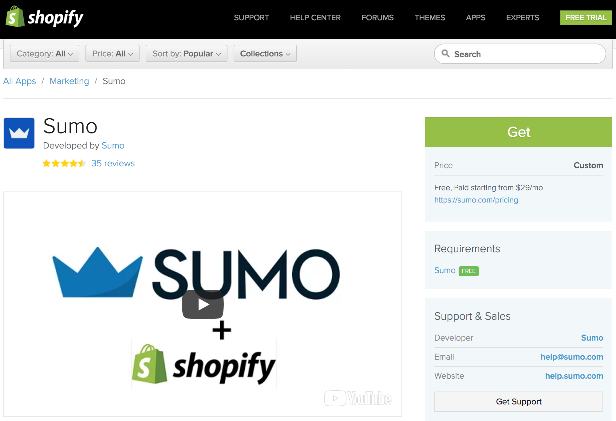 Screenshot showing the Sumo plugin
