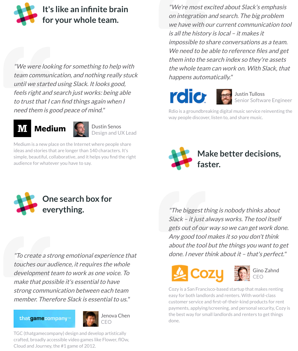Screenshot of promotional copy for Slack, with testimonials