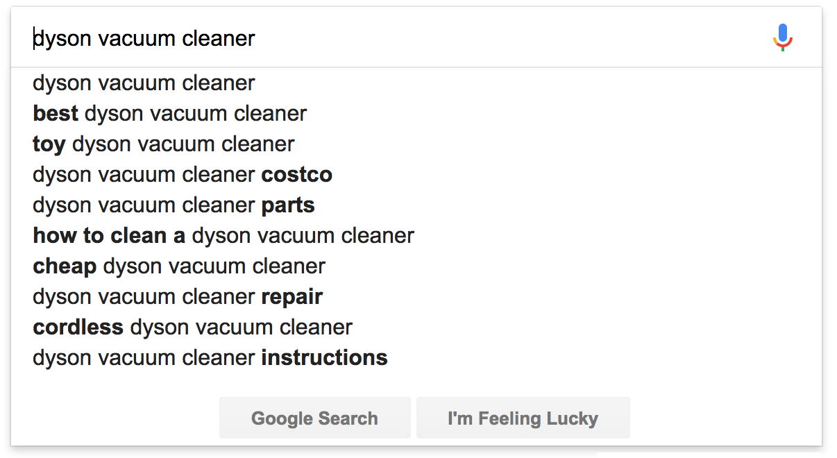 "Screenshot showing search results for ""dyson vacuum cleaner"""