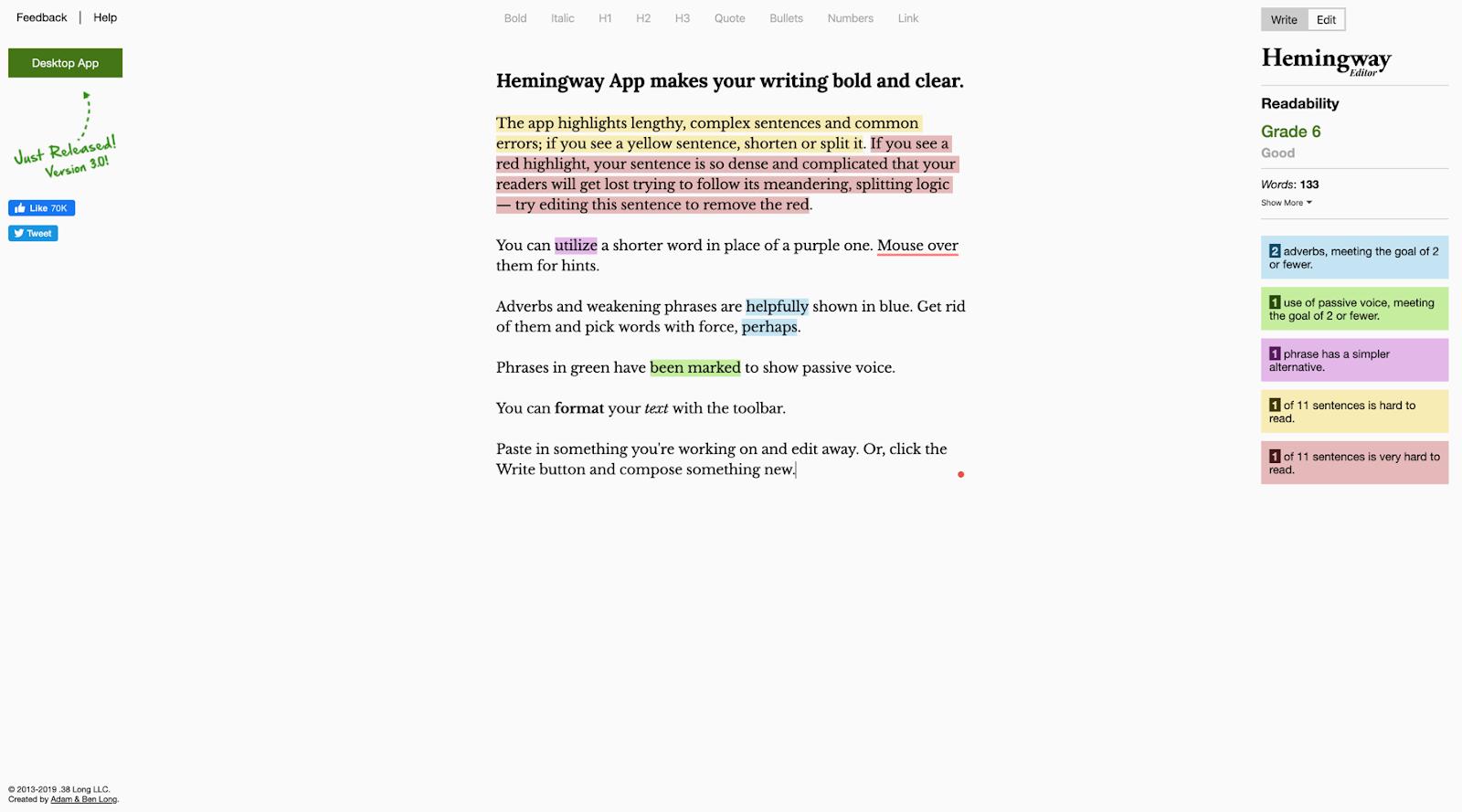 Screenshot of Hemingway app