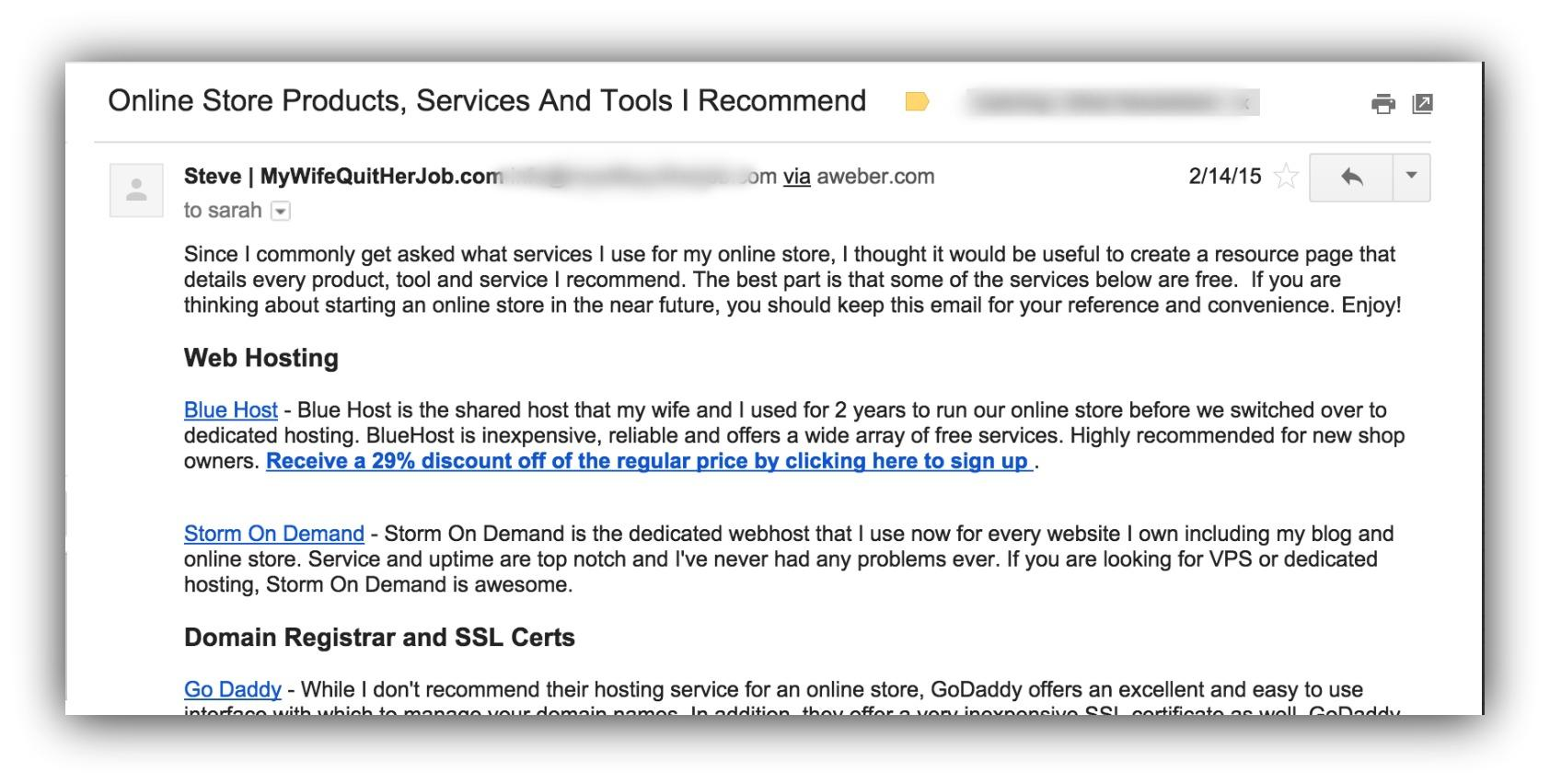 Screenshot of an email sent by Steve of mywifequitherjob.com