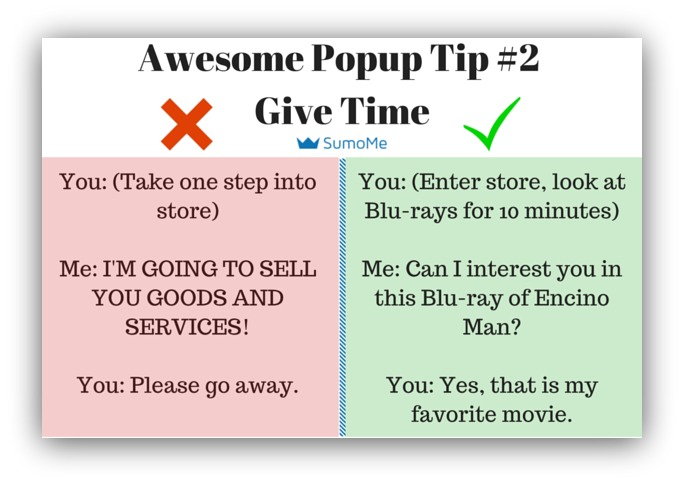 Pop-up tip give time to see page