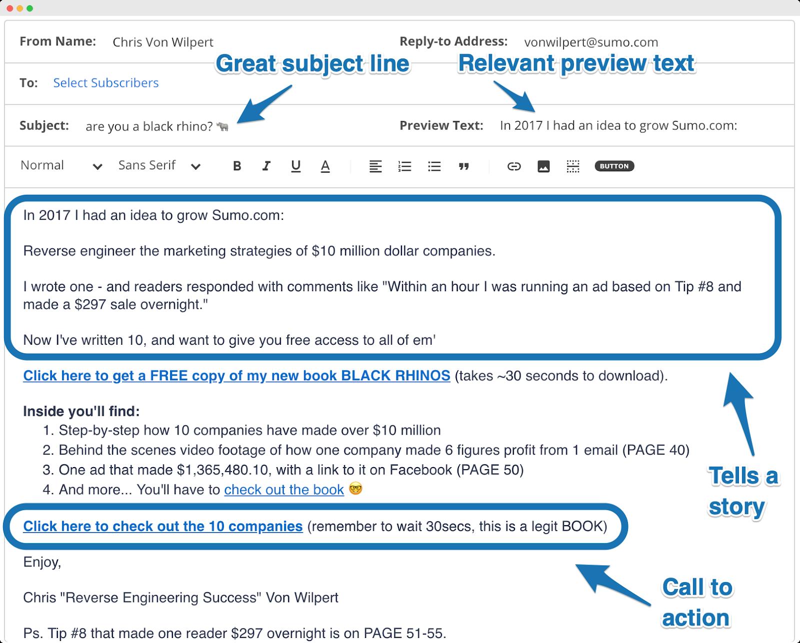 Screenshot of good email format