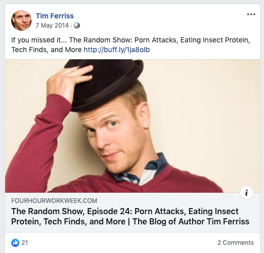Screenshot showing a Facebook post by Tim Ferriss