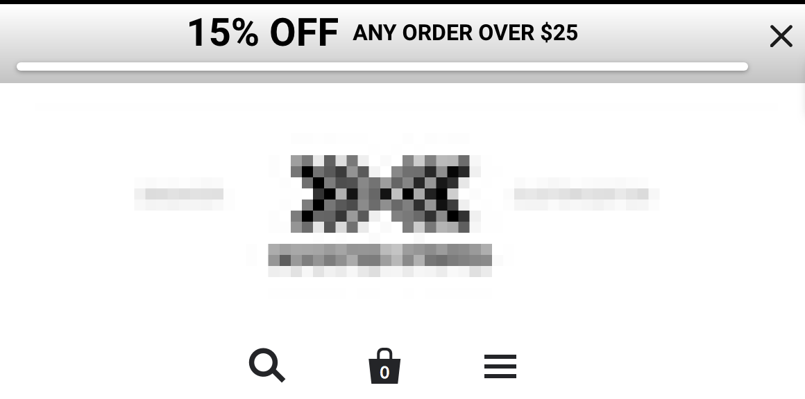 Screenshot showing a sumo top bar offering a discount