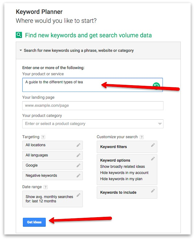 Screenshot showing the google keyword planner in use