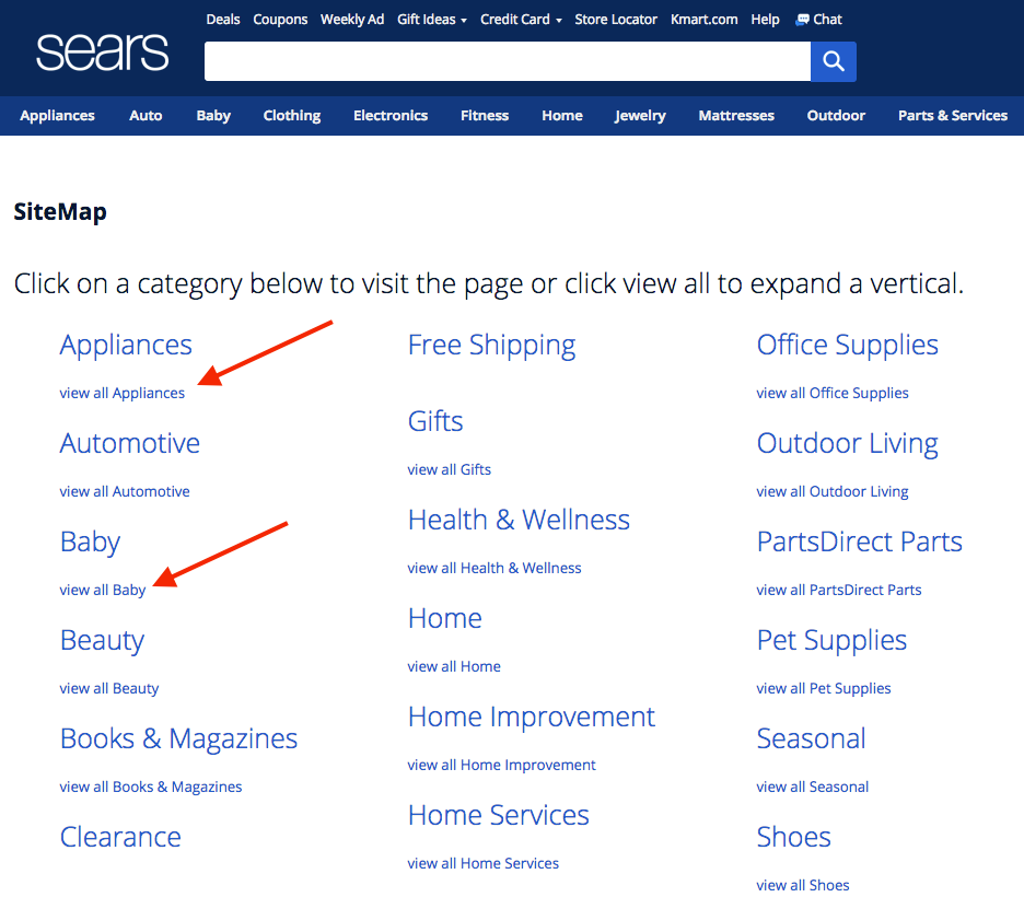 Screenshot showing categories on Sears