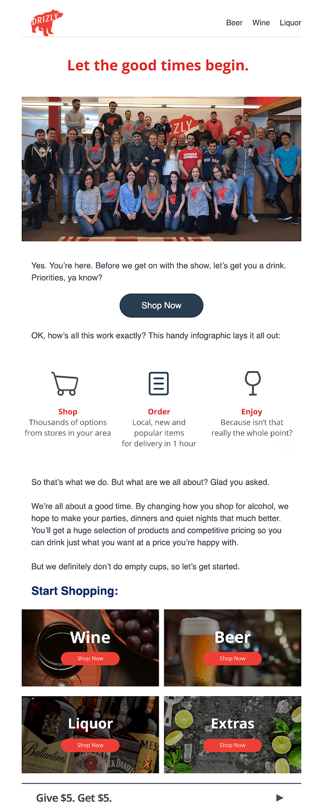 Screenshot of welcome email from Drizly