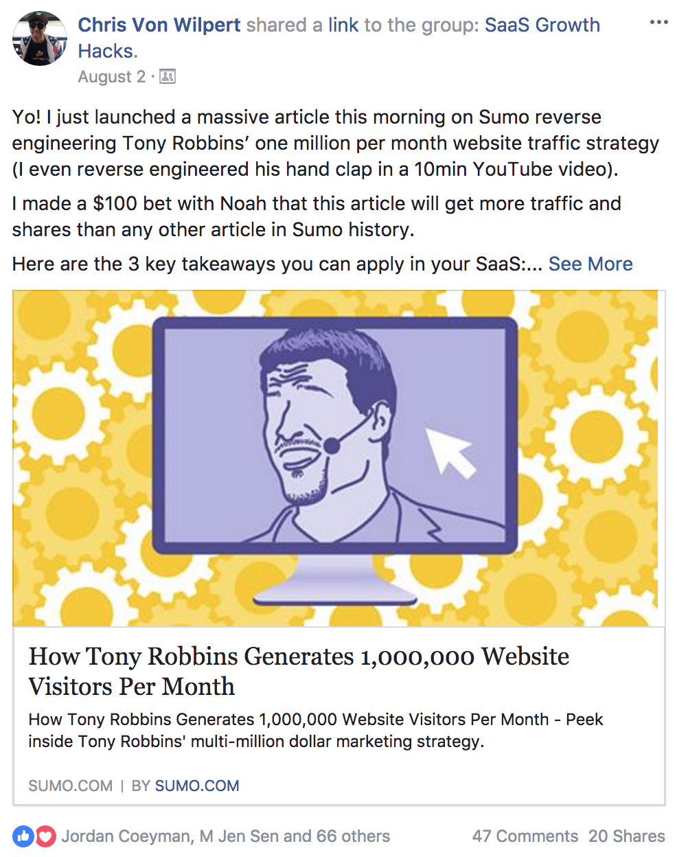 Screenshot showing a content promotion post on Facebook by Sumo