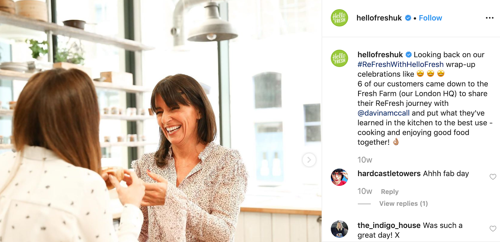 Global Marketing Strategy: Screenshot of Instagram post from HelloFresh UK with well-known British TV presenter Davina McCall