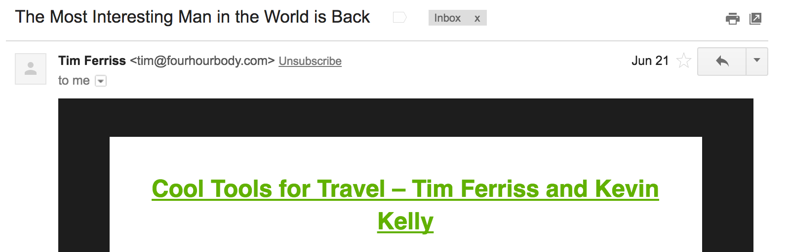 Best Email Subject Lines: Screenshot of email from Tim Ferriss
