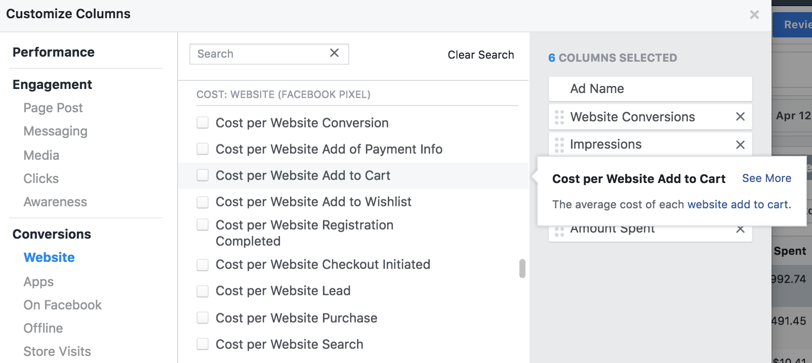 Screenshot of the Facebook Ads dashboard showing how you can set up conversion values