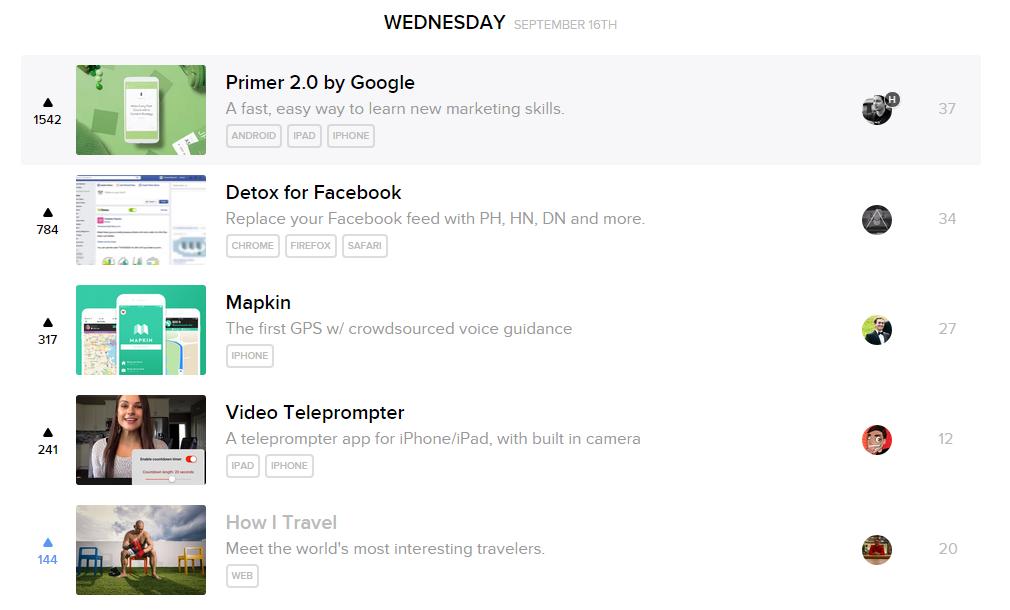 Screenshot showing a list of items under Wednesday