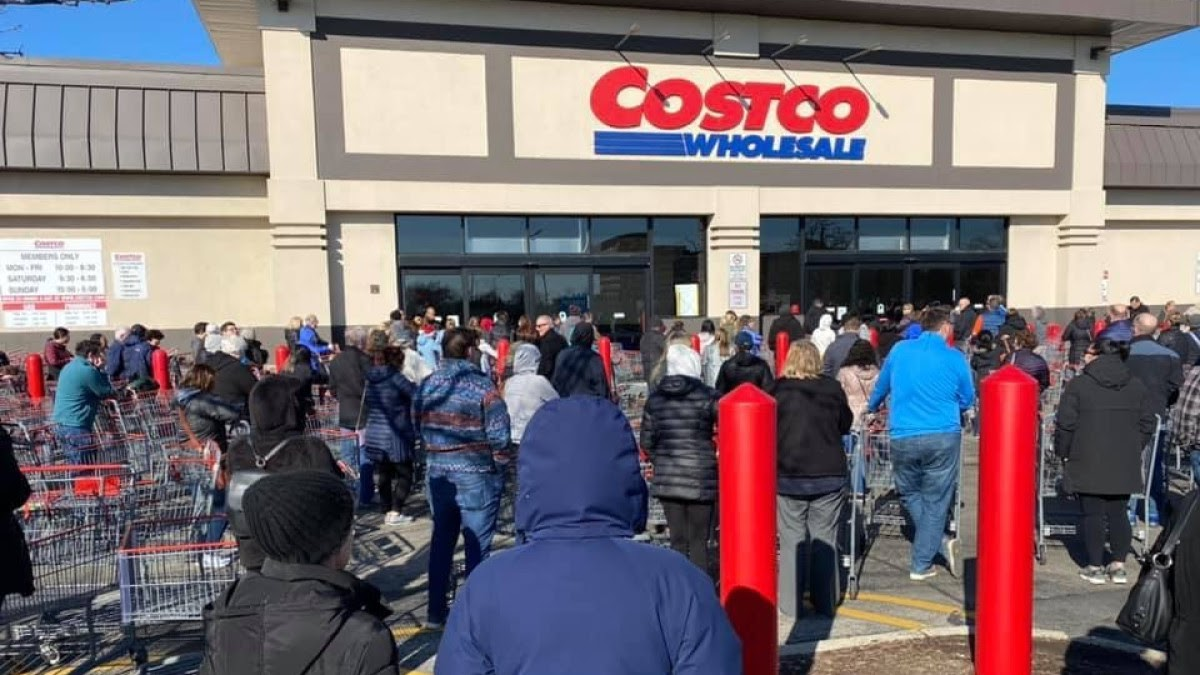 People went to buy necessities at Costco Wholesale during coronavirus pandemic