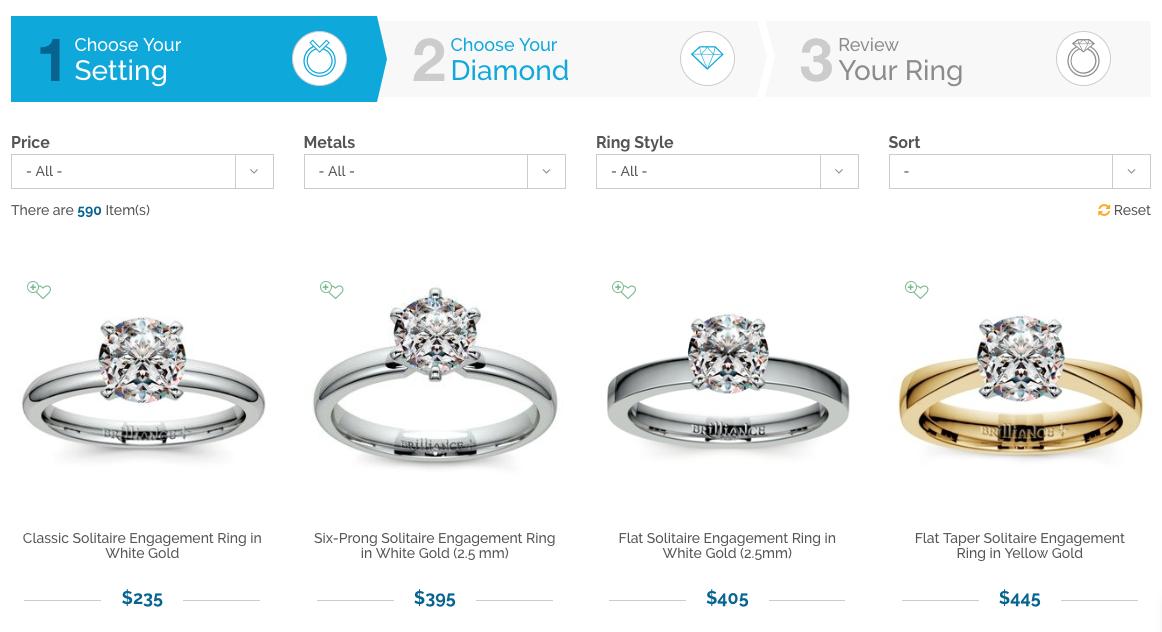 Screenshot showing diamond rings catalog