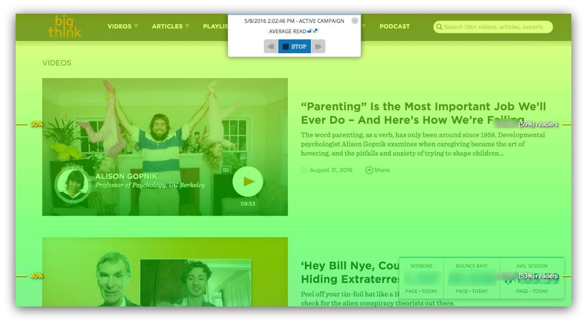 Screenshot of a blog