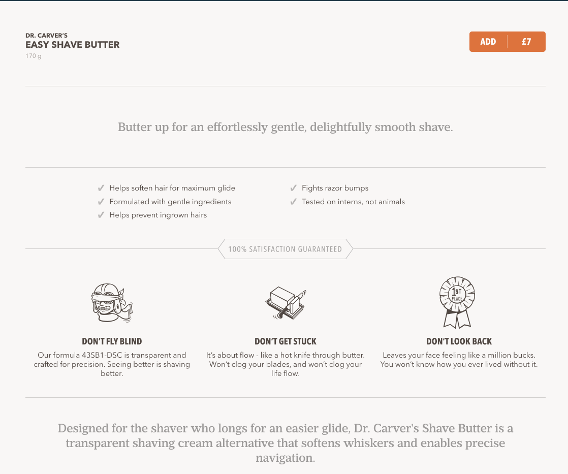 Screenshot showing a product page on dollar shave club