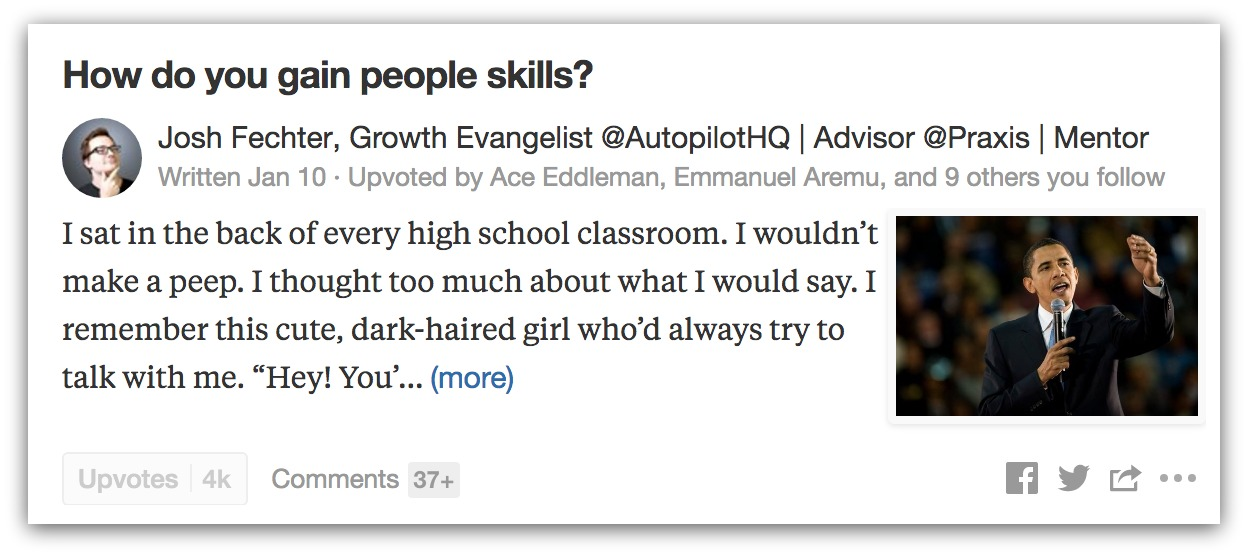 Screenshot of an answer by Josh Fechter on Quora