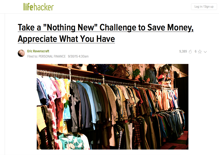 Screenshot of a post on lifehacker about personal finance