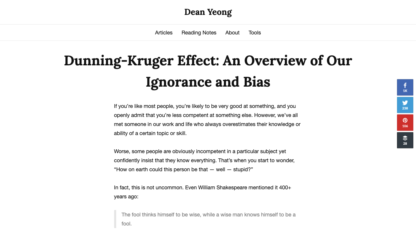 Screenshot of explanatory article on Dean Yeong