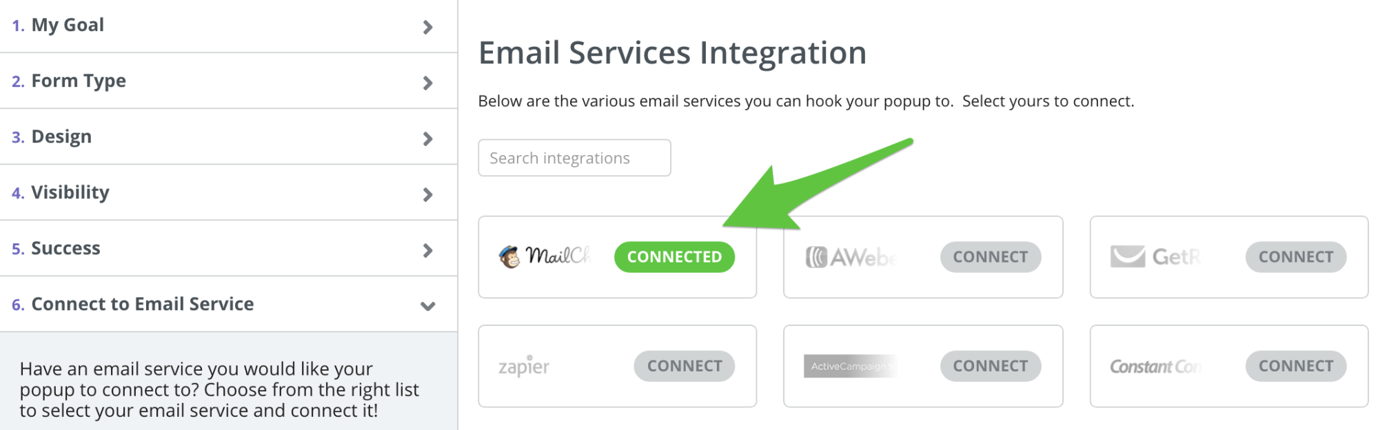 Screenshot showing email services integration page for a sumo popup