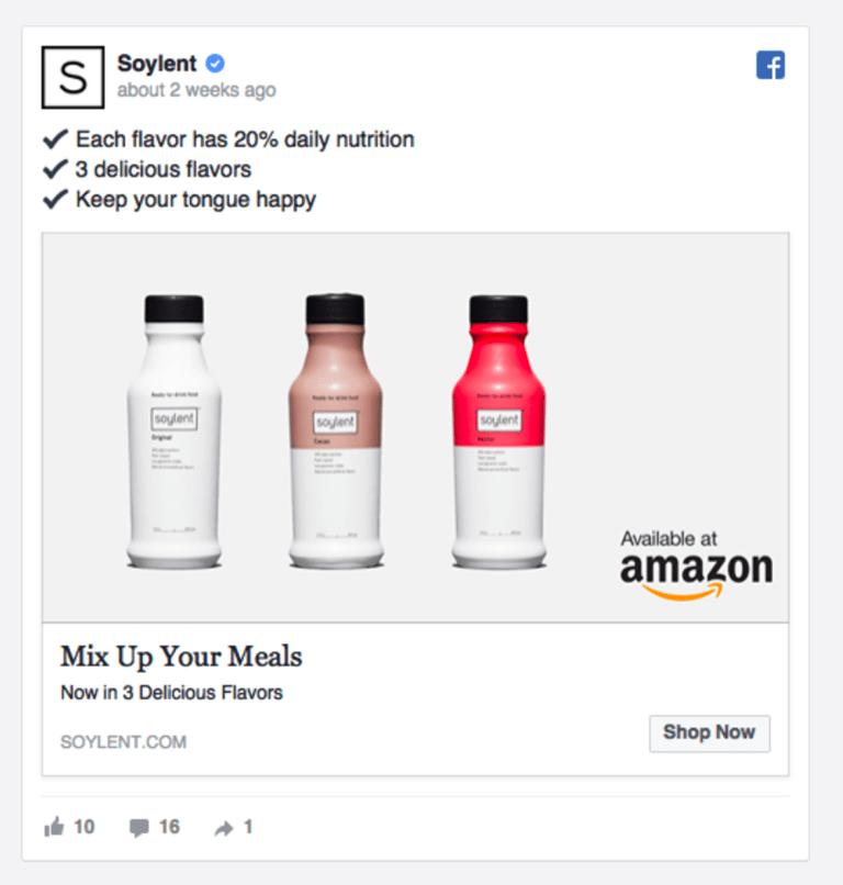 Screenshot showing a Facebook ad