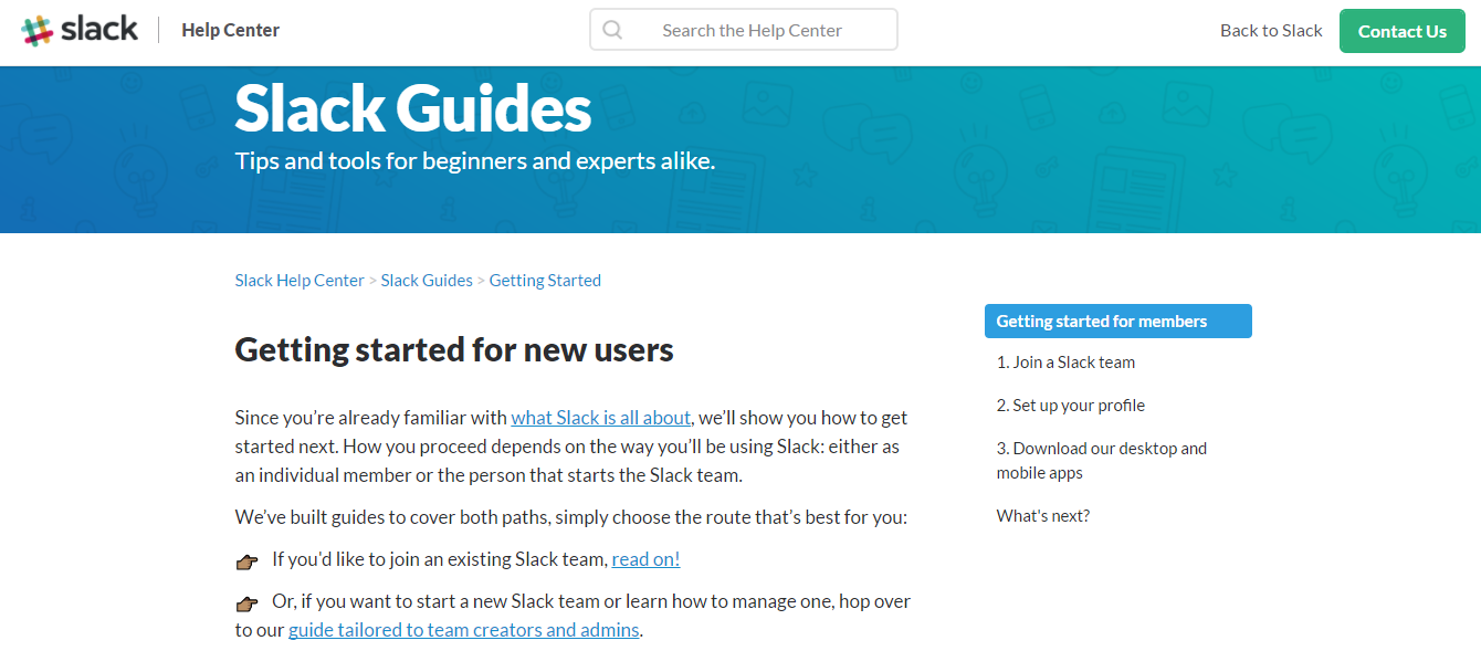 Screenshot showing the getting started guide for Slack