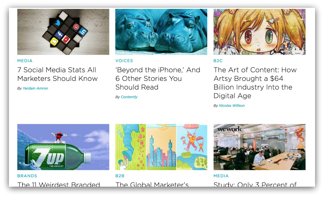 Screenshot showing a grid made up of content pieces on a blog