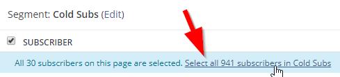 Screenshot of selecting subscribers in ConvertKit