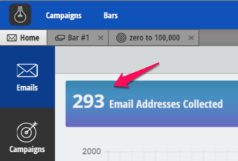 Screenshot showing amount of emails collected